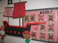 pirate theme board for jr teen room Red Classroom, Classroom Design, Classroom Themes, Classroom Board, Pirate Decor, Pirate Theme, School Themes, School Fun, Pirate Bulletin Boards