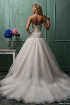amelia sposa wedding dresses 2014 rafaela strapless sweetheart drop waist ball gown back train
