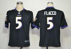 Baltimore Ravens #5 Joe Flacco Black Game Nike NFL Jersey