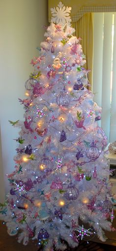White Christmas Tree with Apple Green, Lavender & Pink.