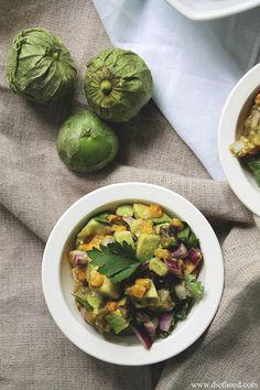 [ Recipe: Avocado Tomatillo Salsa ] Made with: corn (cob), poblano chile, tomatillos, avocados (from Mexico), red onion, fresh cilantro, and salt. ~ from Diethood