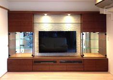 壁面収納家具 エコカラット 工事 Living Room Wall Units, Living Room Partition, Living Room Tv Unit Designs, Kitchen Wall Units, Modern Tv Room, Modern Tv Wall Units, Tv Unit Decor, Tv Wall Decor, Tv Cabinet Design