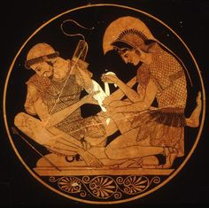 Achille guérit les blessures de Patrocle. 500 BC Grecque verre