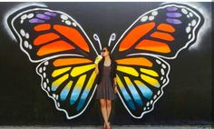 Be a butterfly Interactive mural By Dems & Doll Ottawa 2016 Considered one of my boys'requests when Graffiti Wall Art, Mural Wall Art, Deco Cafe, Street Art, Interactive Walls, Angel Wings Wall, Grafiti, Beste Tattoo, Collaborative Art