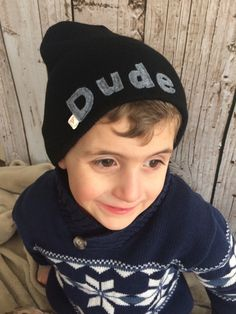 Dude Black Child/ Youth Knit Hat  by letterbdesigns on Etsy https://www.etsy.com/listing/225229366/dude-black-child-youth-knit-hat