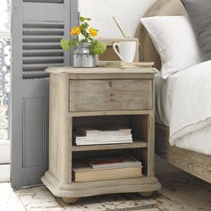 Our lovely French farmhouse style Avril bedside table is hand carved from weathered fir boasting gorgeous curves. It also works nicely as a side table. Small Furniture, Handmade Furniture, Bedroom Furniture, Bedroom Decor, Bedroom Ideas, Recycling Furniture, Warm Bedroom, Bedroom Stuff, Master Bedrooms