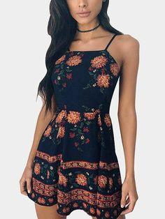 Sexy Random Floral Print Cami Dress