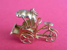 Vintage 18K Yellow Gold 3D Rickshaw Carriage Charm Wheels Move | eBay