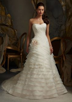 Princess Scallop Organza Court Train Wedding Dress #Wedding #Dress