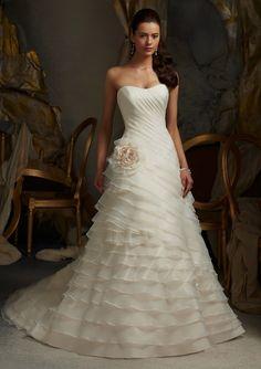 Princess Scallop Organza Court Train Wedding Dress #Wedding #Dress