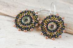 Beaded Disc Earrings Round disc beadwork earrings by CookOnStrike, $26.00