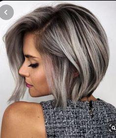 Short Brown Hair, Brown Blonde Hair, Short Hair Cuts, Short Hair Styles, Brown To Grey Hair, Grey Hair Bob, Grey Hair Styles, Bob Hair Color, Gray Hair Highlights