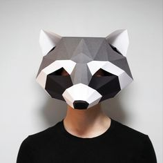 Raccoon Mask & Wall Art SET PDF TEMPLATE : Low Poly 3D Model Mask Wall Art Origami Papercraft Pepakura - Etsy 3d Wall Art, Wall Art Sets, Raccoon Mask, Low Poly Mask, Quilling Videos, Quilling Tutorial, Low Poly 3d Models, Felting Tutorials, Digital Pattern