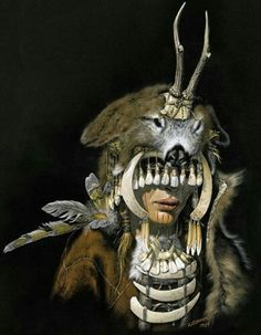 Reconstruction of a Mesolithic female shaman, 7000-6500 BCE, Bad Durrenberg.