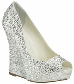 The Mila Wedding Shoes by Benjamin Adams are an amazing oversized wedge and  popular peep toe covered fully in sparkly swarovski inspired crystals. 4a87cd290209