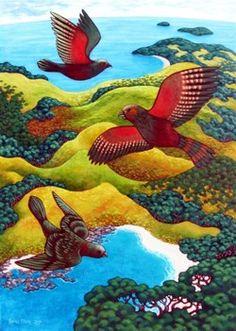 Rachel Olsen Artist - buy Original New Zealand Art Nz Art, Art For Art Sake, Bird Artists, New Zealand Art, Madhubani Art, Maori Art, Kiwiana, Doodle Art, Pet Birds