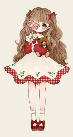 ✮ ANIME ART ✮ sweet lolita. . .ruffles. . .ribbons. . .bows. . .lollipop. . .teddy bear. . .cute. . .kawaii