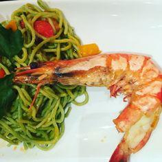 Spaghetti verdi con gamberi im Pane e Vino, #Spaghetti #italianfood  #abend  #abendessen #dinner #seafood #berlinmitte # Fish #fisch #berlinmoskow