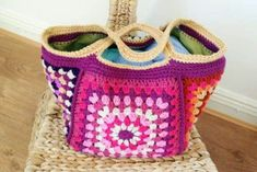 Chunky Retro Crochet Granny Stash Bag Free Pattern