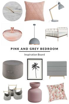 Pink and Grey Bedroom Inspiration Board. Love the grey and blush pink colour combo? This look combines some gorgeous Scandi style pieces with a modern and on-trend copper bed and accessories. Visit us to view more items and ideas from this collection. Products available from various retailers. Find cushions, clocks, pendant lights, art and more at www.furnishful.co.uk