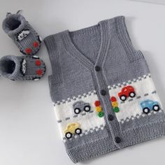 Very Stylish Fashion Car Knitted Vest Model Narrated Illustrated Construction Baby Boy Knitting Patterns, Baby Cardigan Knitting Pattern, Knitted Baby Cardigan, Knit Baby Sweaters, Baby Hat Patterns, Knitting For Kids, Crochet For Kids, Knit Patterns, Free Knitting