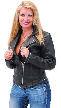 Jamin Leather Pink Vented Stripe Motorcycle Jacket w//Hoodie #L655522HZP