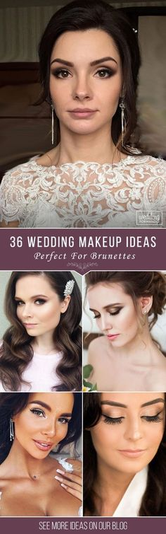 36 Bright Wedding Makeup Ideas For Brunettes  Here are 36 our favorite bridal ideas of wedding makeup for brunettes. Your celebration is a chance to choose makeup you don't wear in casual life.See more: www.weddingforwar... #wedding #bride #makeup #weddingmakeup