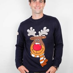 Rudolph the Reindeer Christmas Jumper from Funky Christmas Jumpers Reindeer Christmas Jumper, Best Ugly Christmas Sweater, Rudolph Christmas, Christmas Hat, Christmas Shopping, Funky Glasses, Classy Christmas, Christmas Jumpers, Ugly Sweater