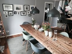 Dining room with solid timber table by Bauholzliebe in industrial design solid wood . - Dining room with solid timber table by Bauholzliebe in industrial design. Dining Room Design, Dining Room Table, Interior Design Living Room, Kitchen Dining, Kitchen Decor, Timber Table, Solid Wood Table, Solid Wood Furniture, Timber Wood