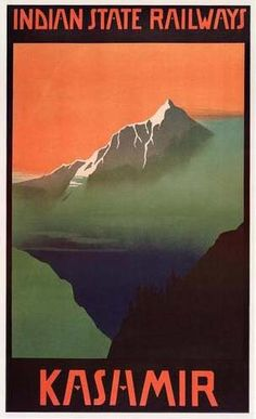 Kashmir Indian State Railways Vintage Egyptian Travel and Tourism Posters, Art, and Prints Giclees Avilable on Canvas as Oversize Murasl with custom Framing Options - from Enjoy Art. Tourism India, Travel And Tourism, India Travel, Travel Ads, Train Travel, Train Posters, Railway Posters, Srinagar, Cyberpunk