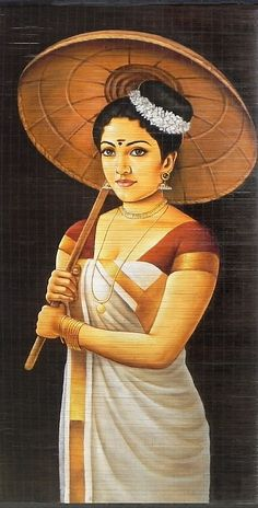 A Malayalee Lady in a Traditional Dress Holding Bamboo Umbrella - (Wall Hanging) - Contemporary Hand Painted (Painting on Woven Bamboo Strands) Indian Women Painting, Indian Art Paintings, Ravivarma Paintings, Realistic Paintings, Indian Folk Art, Indian Artist, Dress Painting, Woman Painting, Rajasthani Painting
