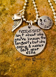 Loss of pet necklace with the quote, Friendship isnt about who youve known the longest, but who came and never left your side. A petite heart