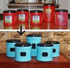 Great DIY upcycle idea using old Folgers containers! Perfect for storing Kids Craft Supplies! Wish I had kept the giant Folger's container I just recycled at work a couple weeks ago. Do It Yourself Furniture, Do It Yourself Home, Upcycled Crafts, Recycled Jars, Recycled Home Decor, Repurposed Items, Recycled Furniture, Fun Crafts, Diy And Crafts