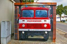 Art-EFX-Substation as Mini Fire Truck in Jännickendorf,  #artefx, #murals, #muralpainting, #streetart, #graffitiauftrag, #substation, #illusionsmalerei, #firetruck, #firefighter, #feuerwehr,
