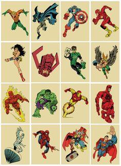 DC-Marvel game: Spot The (Huge Head) Intruder! Sixteen comic book superhero vintagestyle print by TeamWelser Nightwing, Batwoman, Batgirl, Comic Book Heroes, Comic Books Art, Comic Art, Book Art, Marvel Dc Comics, Marvel Heroes
