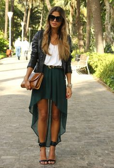 Zara green high-low skirt, white top, leather jacket, T-strap heels & tan clutch