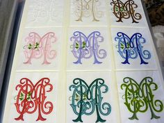 Join me for a peek at the beautiful customizable embroidery work available at Best Monogram in Washington Depot, CT. Monogram Tattoo, Monogram Stencil, Embroidery Monogram, Monogram Design, Monogram Styles, Monogram Fonts, Monogram Letters, Monogram Initials, Embroidery Fonts