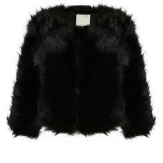 FUR COAT BLACK ❤ liked on Polyvore featuring outerwear and jackets