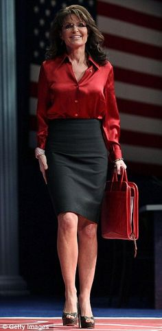 Superman T-shirt, towering wedges and skintight pants: New-look Sarah Palin ditches her boxy suits as she backs Sarah Steelman for Senator in Missouri Sexy Older Women, Sexy Women, Tall Women, Sarah Palin Hot, The Great Clothing, Tight Pencil Skirt, Satin Blouses, Look At You, Business Attire