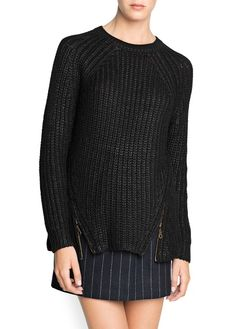 Chunky Black Knit Sweater with Zippers   MANGO