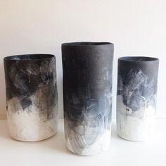 Hand-thrown Stoneware Black & White Brushed Ombre Vases. Black & White Ombre Glaze Surface. Cylinder Vase. Sheldon Ceramics. Cone 10 Ceramics. Los Angeles. Clay