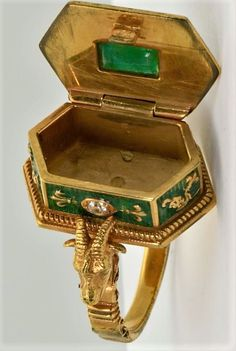 Poison Ring, Large Containers, Baphomet, Crown Royal, Memento Mori, Antique Rings, Georgian, Precious Metals, Diamond Cuts