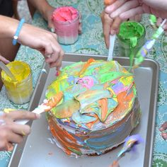 painted birthday cake from the epic 13yr-old birthday party yesterday. it was so beautiful, until they decided to throw it at each other. #tweens