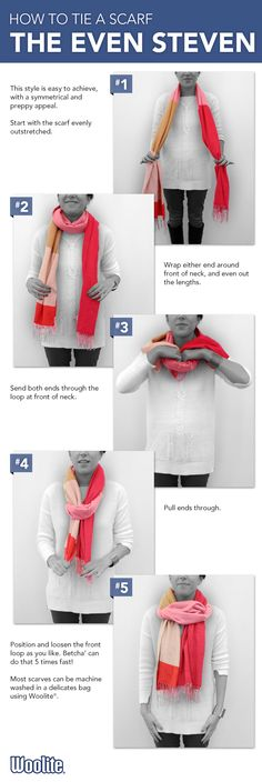 Learn how to tie a fashionable spring Even Steven #scarf with this tip from Woolite®.