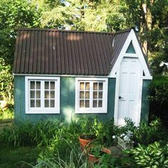 8x12 Dollhouse. Example shows optional salvaged farmhouse door, client supplied windows + Brown Tudor metal roofing. Standard Plans $19.95, Kit - 2 people 20 hours + Fully Assembled in northeast. Kits ship *Free in the continental US + eastern Canada. http://jamaicacottageshop.com/shop/doll-house-option-1/ http://jamaicacottageshop.com/wp-content/uploads/pdfs/pdf8x12dh.pdf http://jamaicacottageshop.com/free-shipping/ #jamaicacottageshop #playhouse #playhouses #sheds #shed #garden