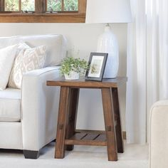 Free building plans for this rustic DIY Side Table! Detailed step-by-step photos make it so easy to build!