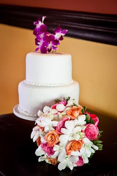 Sometimes Simply cakes are nice add some flowers for a pop of color.