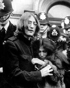John Lennon in London with wife Yoko Ono 1968
