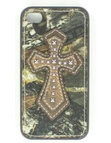 Camo phone case with a brown crosse. You can find or buy this phone case on the Sheplers website.