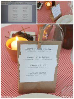 Menukort til fest med italiensk tema - brødpose til hver kuvert Kreahobshop.dk
